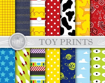 Toy Story Digital Paper: TOY STORY Inspired Pattern Prints, Instant Download, Paper Pack Patterns Scrapbook Print