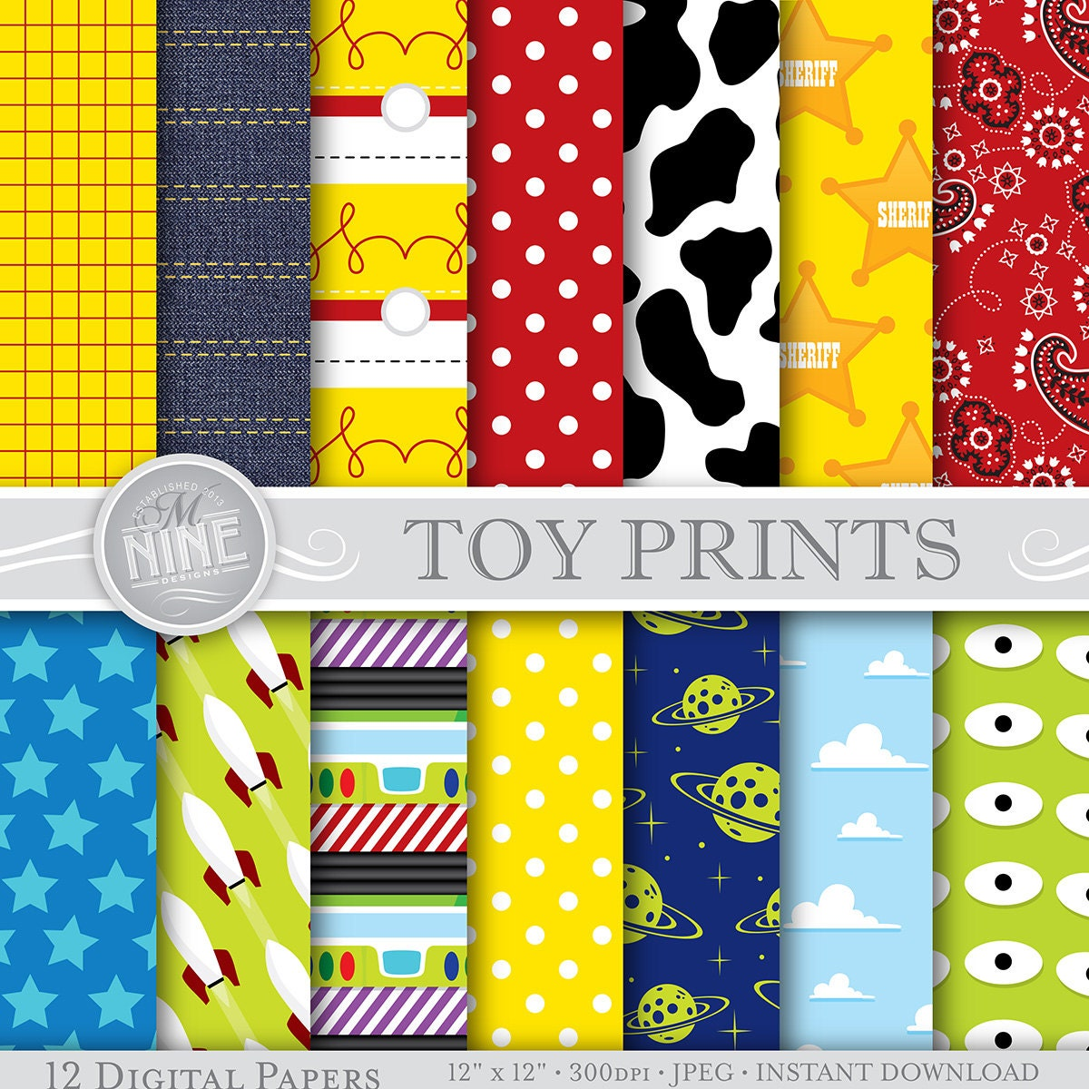 Scrapbook paper designs to print - Toy Story Digital Paper Toy Story Inspired Pattern Prints Instant Download Paper Pack Patterns Scrapbook Print