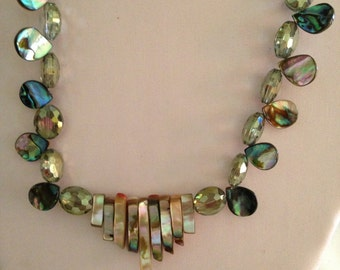 abalone and faceted glass necklace