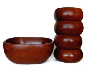Teak Salad Bowl Set, 1960s Wood Serving Bowl