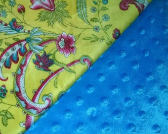 """Blue & Yellow Floral Minky Baby Girl Blanket 29""""x35"""""""