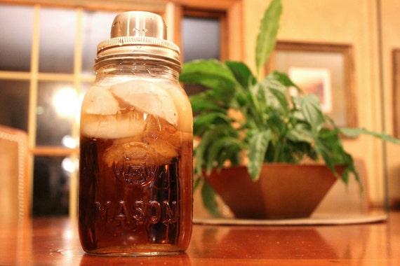 Mason Jar Cocktail Shaker, Mason Shaker, Vintage Atlas, Vintage Ball Quart Jar, Strainer, Martini, Mixer, Cap, Stainless Steel, Gift