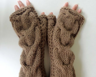 Hand Knitted Cable Fingerless Gloves. Brown or 44 Different Colors. Arm Warmers with Bulky Braids. Warm Accessory for Women and Teens.