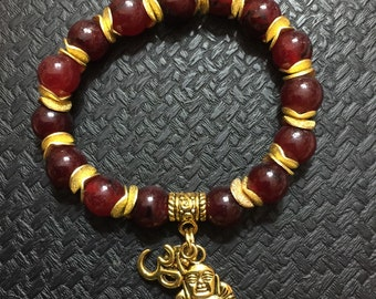 Red jade/ Yoga jewelery/ Buddha / Om bracelet