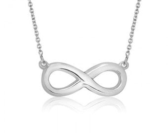 10K White Gold Infinity Necklace