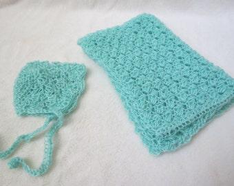Crochet Mohair Bonnet and Wrap