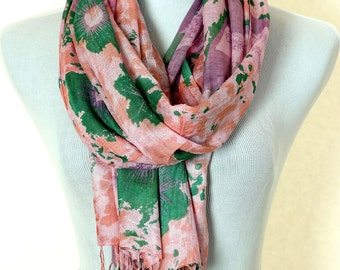 Tropical Floral Scarf (Coral)