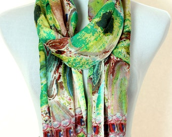 Multicolor Abstract Print Scarf (Green)