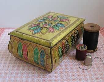 Vintage 50's Tin- Made in West Germany- Cottage Chic- Retro Cottage Decorative Tin- Sewing Box