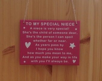 Niece   Special   Plaque   Sign   MDF   Gift   Her   Goddaughter   Christening   Baptism   Birthday   Confirmation   Aunt   Aunty  Auntie