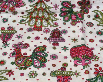 Vintage 1960s Mod Christmas Print Fabric with Trees, Bells, Geese, Psychedelic
