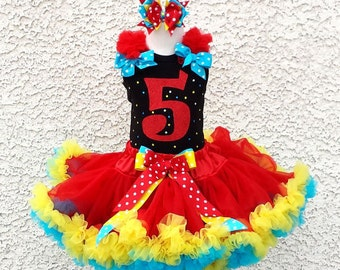 Circus Inspired Birthday Number Pettiskirt -Personalized Birthday Pettiskirt,Sizes 6m - 14/16