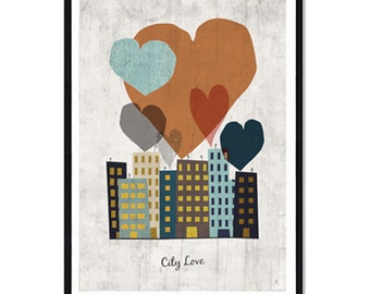 A4 - Poster City Love - heart, building, city, city, love city b