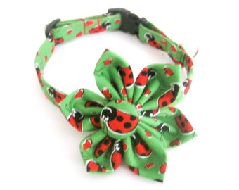 Dog collar with flower Flower dog collar Ladybug collar Adjustable dog collar