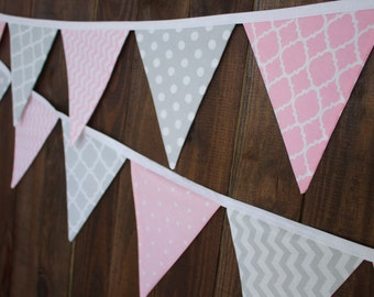 Pink & Gray Grey Fabric Bunting Pennant Banner with Chevron, Dots, Damask, for Nursery, Baby Shower, Party Decoration, or Photo Prop