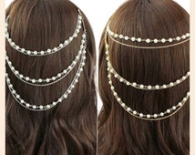 Sale!!! Bridal wedding party hair floater imitation pearl chain. Silver/gold tassel floater. Hair  jewelry.