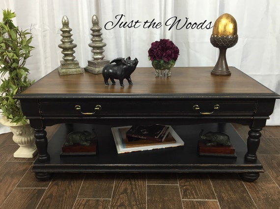 Sold Black Tan Distressed Coffee Table
