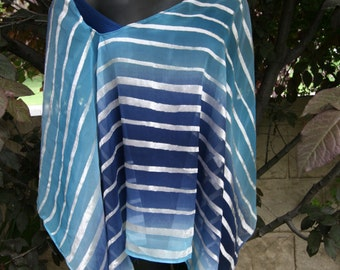 Beach Cover up Poncho Navy Blue Turquoise Sheer Bathing Suit Wrap Scarf Shawl