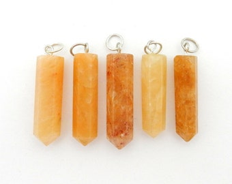 Citrine Quartz Point Pendant with Silver Tone- Crystal Citrine Quartz Point Pendant (RK39B2-01)