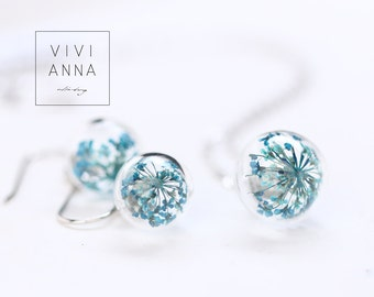 Mini silver set with turquoise dill flowers | set030