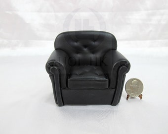 """Miniature 1""""Scale Modern Black Leather Fabric Chair For Dollhouse"""