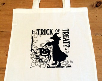 1 Witch Halloween Tote Bag - Trick or Treat Halloween Candy Bag - Trick or Treaters Halloween Night - Retro - Vintage - 15x16