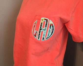 Monogrammed Comfort Color Appliqued Pocket T-Shirt