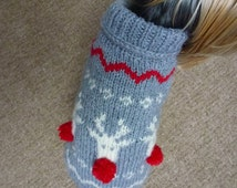 Christmas Dog Sweater with Reindeers - Knitting Pattern