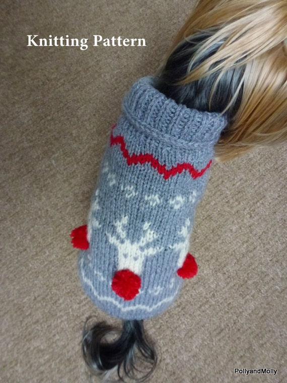 Knitting Pattern For Dog Christmas Jumper : Christmas Dog Sweater with Reindeers Knitting by PollyandMolly