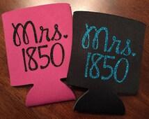 Mrs. Police Wife Can Cozy, Mrs. Deputy Wife Cozy, Glitter Badge Drink Holder, LEO Wife Coozie, Glitter Vinyl Cozy
