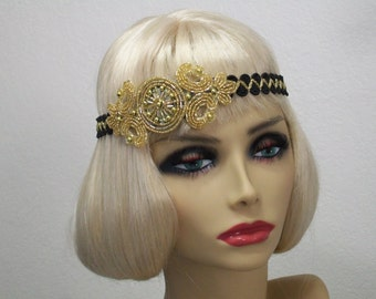Flapper headpiece, Great Gatsby headband, 1920s headpiece, Downton Abbey, Beaded Art Deco, Flapper headband, Vintage inspired