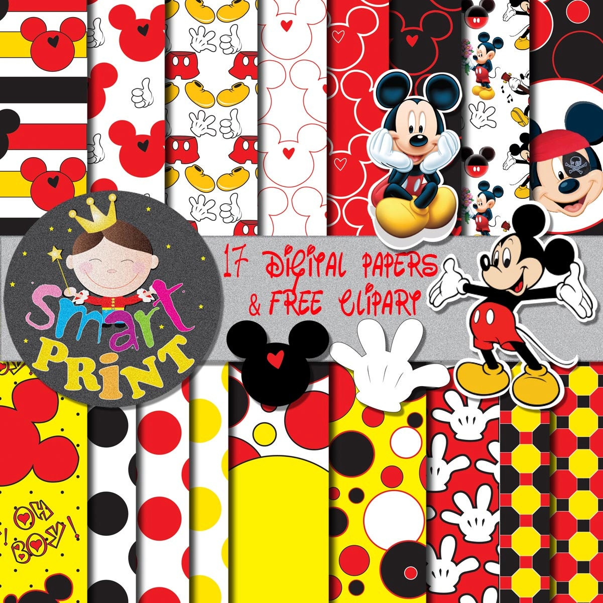 Mickey clipart | Etsy