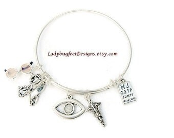 OPTOMETRIST, OPTICIAN, OPTHALMOLOGIST Adjustable Expandable Stackable Bangle bracelet, One size fits most!