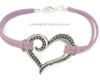 Fancy Heart Bracelet, Choose COLOR / SIZE -  Microfiber Faux Suede Leather Cord - Valentine's Day Gift