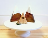 Mini Peak and Teepee w/ Fire Pit - Cake Topper - Centerpiece - Mountain - Nature
