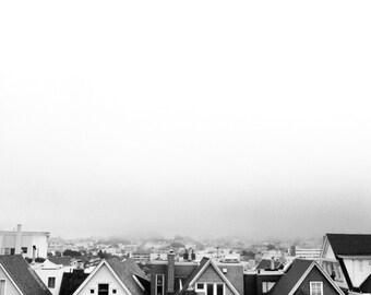 San Francisco Roof tops in fog, san francisco wall art, sf home decor, travel photography, bedroom art, nursery decor