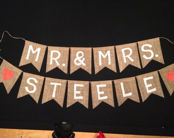 Mr and Mrs Burlap Banner, Customized Mr and Mrs Burlap Banner, Customized Mr and Mrs Banner, Wedding Burlap Banner, Bridal Shower Burlap