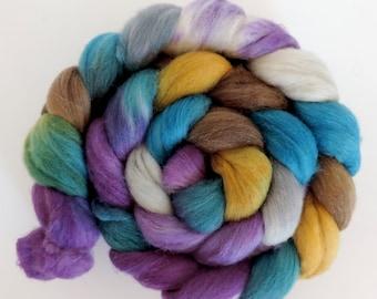 merino silk,Bergelf, top, handpainted fiber for spinning, .4,2oz