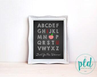 Teacher Appreciation Chalkboard - Thank You Print, Teacher Appreciation, Teacher Gift, Thank You Gift, End of School Gift