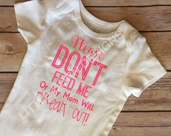 Food Allergy Breastfed baby bodysuit Please don't feed me infant gift