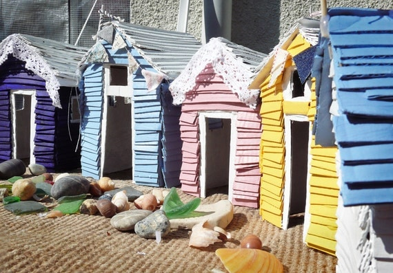 Cardboard beach huts handmade recycled upcycled paper models for Model beach huts