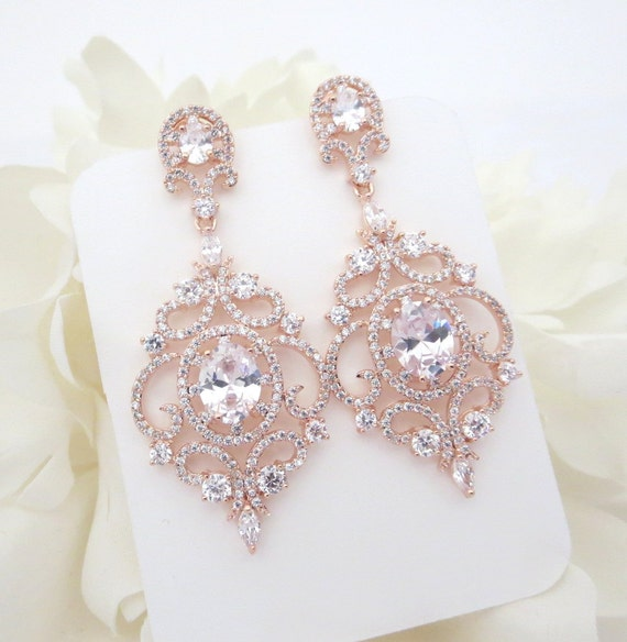 Rose Gold Bridal Earrings Rose Gold Chandelier Earrings