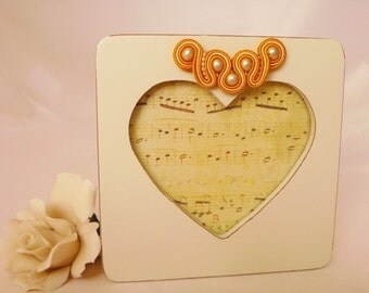 SALE Picture frame in distressed ivory. Gold soutache and recycled beads. Gold and ivory heart photo frame from MollyG Designs.