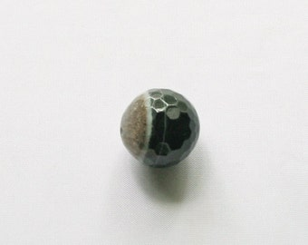 1 Grey, Brown, Black Faceted Agate Focal Bead, 28mm Round Shape