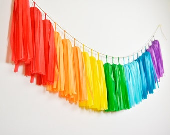 Rainbow Tassel Garland, Rainbow Birthday Party, Rainbow Nursery, Gay Wedding, Rainbow Baby Shower, Rainbow Cake Smash, Rainbow Pride Party