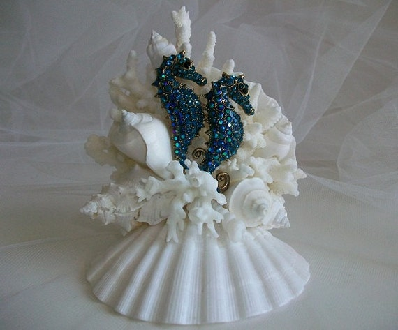 beach theme wedding cake topper jeweled by seashellbeachdesigns. Black Bedroom Furniture Sets. Home Design Ideas