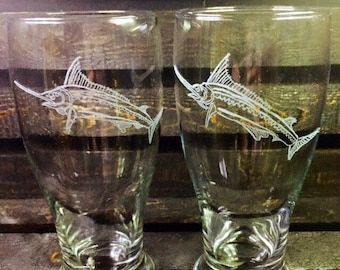 Marlin - marlin, ocean, fish, water, pilsner glass, pint glass, beer glass, for him, gift, holiday, hand etched, etched glass, great gift