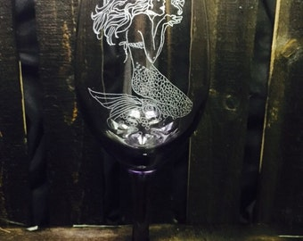 Classic mermaid wine glass - mermaid, wine glass, barware, ocean siren, siren of the sea, etched glassware, hand etched, holiday, gift ideas