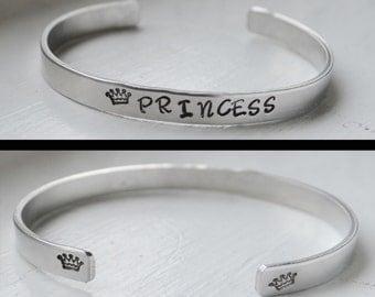 Hand Stamped Aluminum Cuff  Bracelet, Princess Gift, Personalized Jewelry, Tiara Princess Bracelet