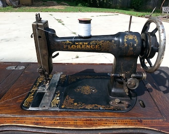 Antique Treadle Sewing Machine, New Florence Brand